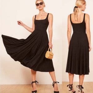 Reformation Rou Midi Dress in Black